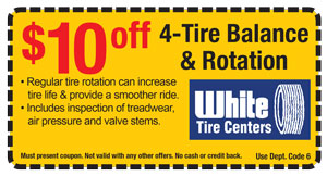 White Tire Center Tire Rotation Coupon
